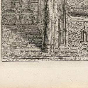 Design for a bedchamber with allover patterning of rinceaux and curved lines and cartouches.