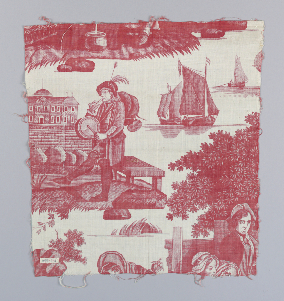 Probably a piece of 1955-6-1 A, B. Red on white. Pastoral print with sailing ships in interstices. Copper plate.