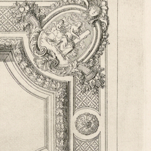 Painted ceiling with blank center, framed by garlands and cornucopia. The corners have figures representing different classical symbols.
