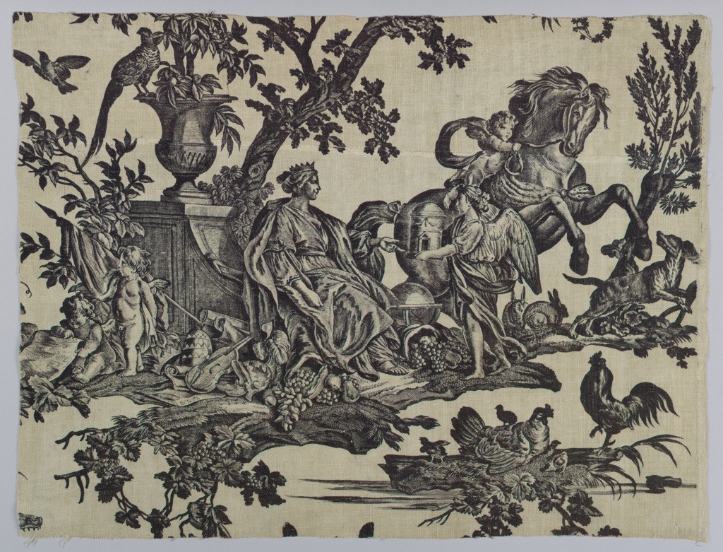 Fragment shows a seated figure representing Europe surrounded by cherubs, roosters, dogs, and a horse.