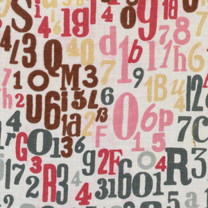 Multi-colored, patern of randomly arranged letters and numbers.