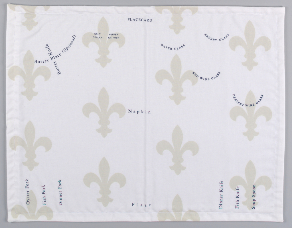 Instructions for the placement of cutlery, glasses, napkin and placecard are printed in navy on a backgroud of beige fleur-de-lys on white.