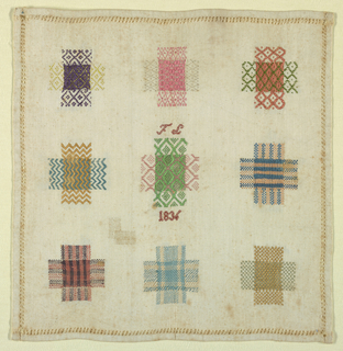 Small square sampler with nine squares of pattern darning, one simulating knitting.  Above and below the center square are the initials F.L. and the date 1836. Hemmed on four sides with a decorative hemstitch.