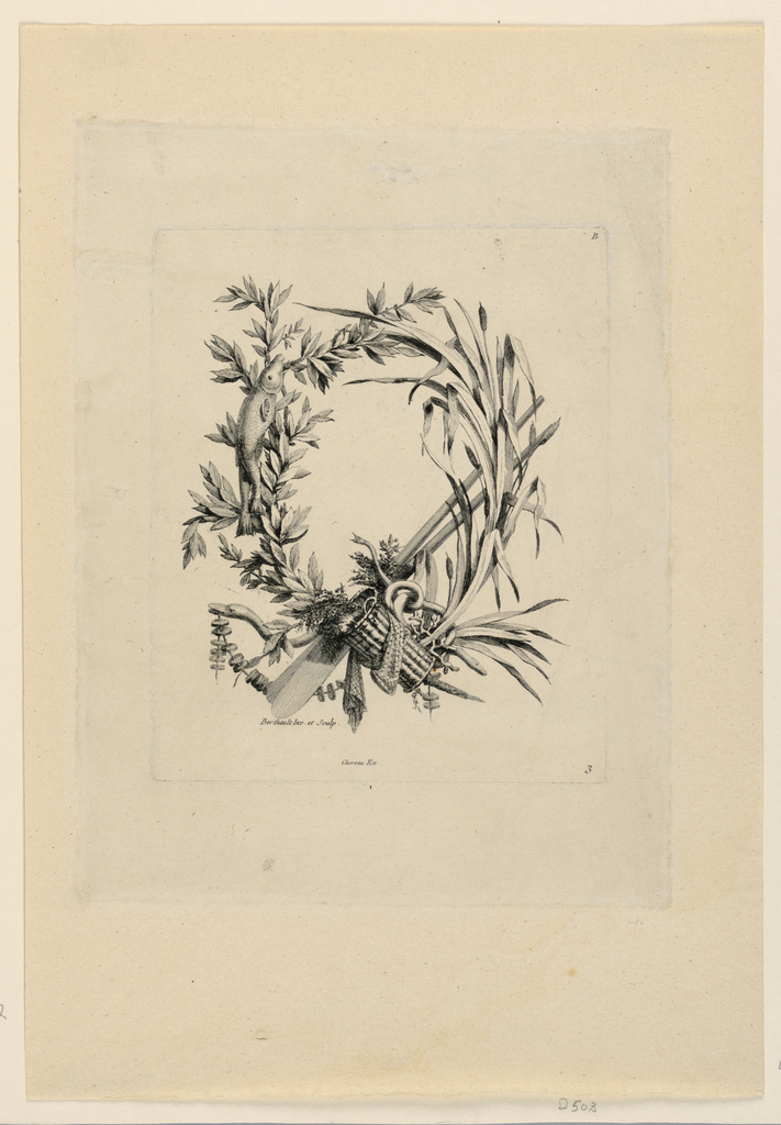 A bough, a stem of reed, fishes, objects of fishing. Signed.