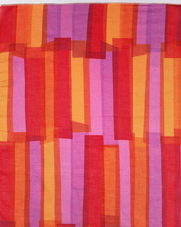Length of printed cotton with a design of overlapping, irregular vertical rectangles printed in violet, orange, and red. The colors are translucent so the overlapped areas appear as darker or mixed colors.