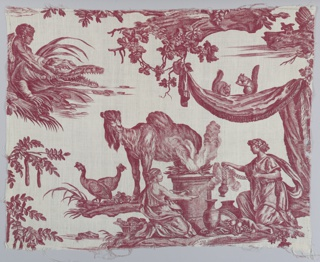 "Portion from ""Les Quatre Parties de Monde"", showing an allegorical image of Europe alongside a camel, squirrels, and birds."