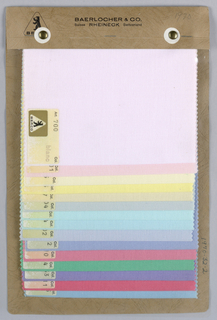Sample card with fifteen samples of solid colors with an acetate cover.