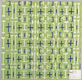 Regular pattern of linear shapes, in white and navy on a green ground.