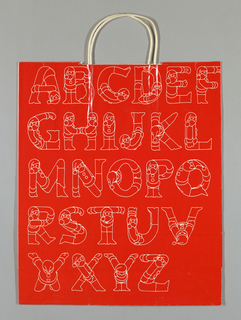 "Alphabet in white bubble font, with letters forming Santa Claus figures, on red glossy background. Side panels:: Store name and ""Christmas"" in green script."