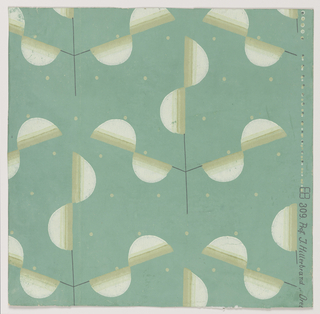 Stylized triple-branched foliate, leaves formed by semi-circular shapes in shaded tones of ochre, attached to slender straight-line branches, on jade green ground interspersed with small ochre dots.