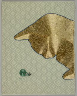 Profile of a cat in gold peering at a green snail embroidered on a blue-gray patterned ground.