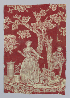 Design shows a woman in front of a tree with a small dog. A man holding his hat looks on. To the left is a sundial. Design is in white on a red ground.