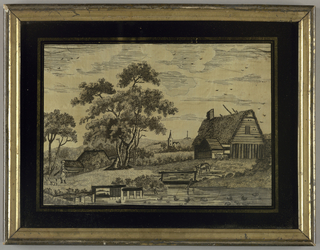Rural landscape with a pond, buildings, animals and a shepherdess, in black silk on a white ground.
