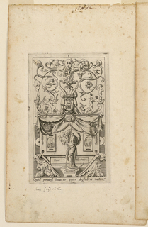 Vertical rectangle. Grotesque-panel with Saturn standing on a pedestal at lower center. Masques, tendrils, puttis, draperies surrond him in a grotesque design.