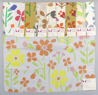 White sheer plain weave printed with an abstract floral pattern in light green, yellow, orange and pink. Additional colorways attached. Number 796.