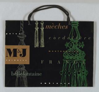 """M&J"" on left in gold on black background; floating text, such as ""tassels"",""fringe"", etc. in script."