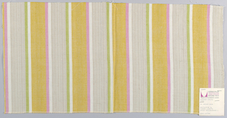 Plain weave with wide vertical stripes of beige and gold with narrow stripes of white and yellow-green and white and pink. Beige stripes have threads of light brown running through them.