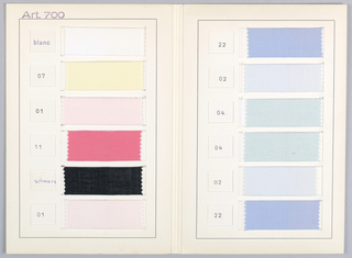 Sample card with twelve samples of solid colors.