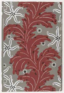 A stylized design of sea forms. A starfish motif of six tentacles in silver with black dots in rows on each arm. A continuous large scale seaweed or coral-like leaf meanders through the center of the paper in deep coral red with silver dots representing the veins of leaves. Also small black circles are placed on coral leaves. On the gray background are circles of silver dots with black centers. Printed in red, silver and black on gray field. Printed for Nancy McClelland of New York City.