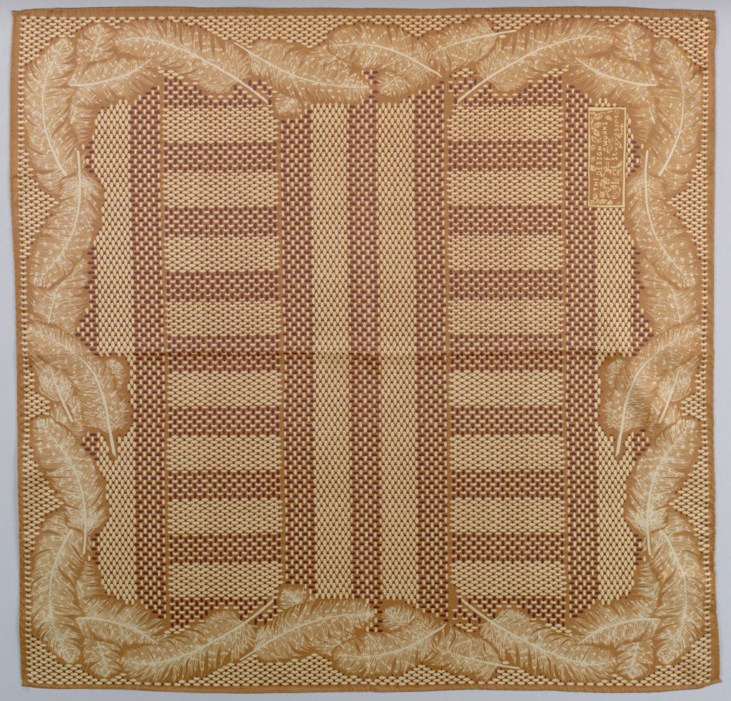Square handkerchief, in shades of brown, with a field patterned by small dots confined within bands and stripes with feathers forming the outer border. Hemmed on four sides.