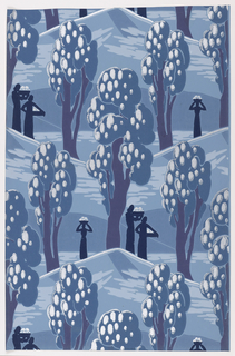 Abstract landscape of hills covered with trees and figures carrying loaded baskets. Printed in light blue, dark blue, violet and silver on a pale blue ground.