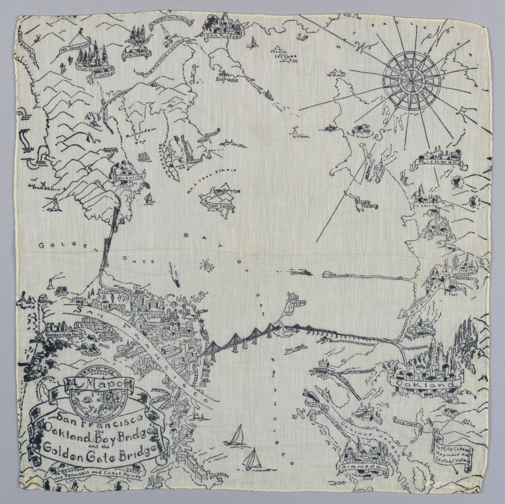 White cotton handkerchief with a map of the San Francisco Bay Area printed in black. Souvenir of the Golden Gate International World's Fair, 1939.