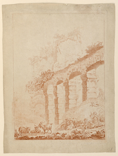 Landscape with ruined arcade and other structures. In the foreground, a goatherd and woman spinning in conversation. Sheep and goats graze. Another figure and dog approach from the right.