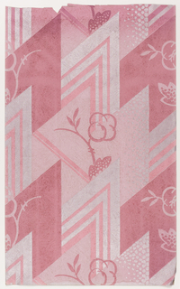 Overlapping chevron design, some with stripes, dots and floral shadow. Printed in shades of pink and silver on embossed paper resembling brush strokes.