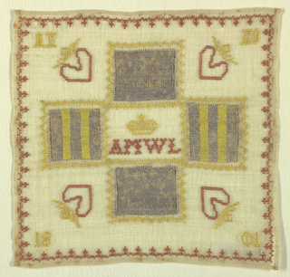"Four patches of ""knitting darning"" with a crowned monogram in the middle.  All of the darning done on top of the foundation fabric."