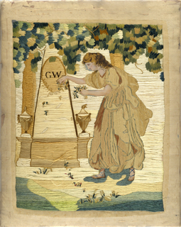 Embroidered picture showing Virtue in the figure of a young woman in classical dress scattering flowers on the tomb of George Washington shaded by a large tree. Embroidered in silks, with the exception of the face, arms and feet, which are painted. Framed and glazed with black mat and title painted on the glass.