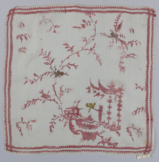 Handkerchief of white chiffon printed in red with gold in a design showing a human figure under an arbor along with a vine and sprays filling the field. Printed in Paris from a Pillement woodblock.