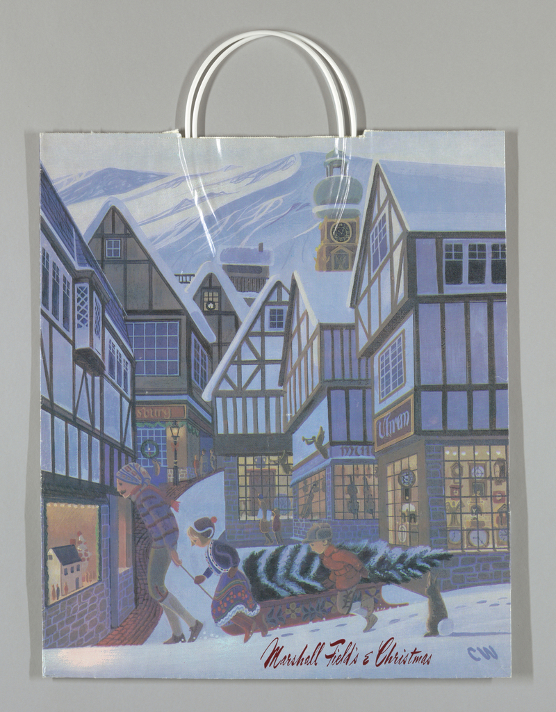Full color rendering of Swiss town in snow,  with family pulling Christmas tree on sled; windows in half-timbered houses display clocks, musical instruments, etc. Design continues in side panels.