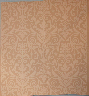 On tan ground, alternating tan floral motifs framed by stylized scrolling foliage.