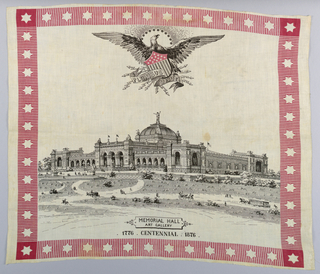 Handkerchief printed in black and red showing as design the memorial Hall Art Gallery at the time of the Centennial, 1876, at Philadelphia Fairmont Park.