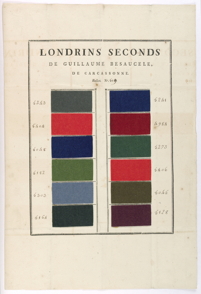 """Sheet of paper pasted with double row of 12 samples of wollen cloth with felted surfaces in reds, greens, browns, grey, and blues. Stamped heading: """"LONDRINS SECONDS DE GUILLAUME BESAUCELE DE CARCASSONNE. BALLOT. No 519."""""""