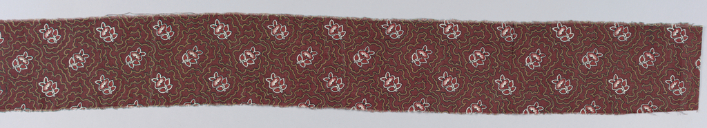 Single flower and leaf pattern in red and black on a dark brown ground. Light brown outlines of the flower motif radiate out and fill the ground.