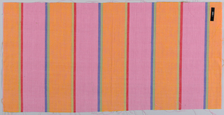 Plain weave with wide vertical stripes of pink and orange with pairs of narrow stripes in green and blue and red and olive green.