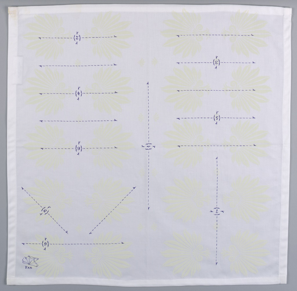 "Square white napkin with a subtle pattern of pale yellow palmettes, overprinted in purple with instructions for folding the napkin into a ""fan""."