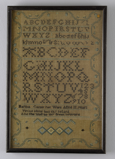 "Worked in black, blue, green and yellow silk on linen ground.  Alphabets, borders and verse ""Virtue alone has thy regard and she shall be thy great reward"" in cross stitch and eyelet stitch.  Running vine border with blue and yellow daisies."