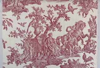 Textile fragment printed in red on white ground showing the allegorical figure of Europe  surrounded by cherubs, roosters, dogs, and a horse.