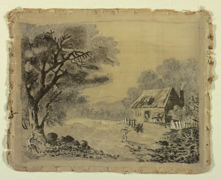 Rural landscape with a figure carrying a scythe over his shoulder returning to a cottage.