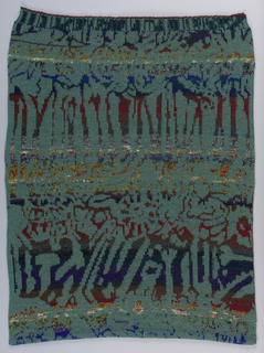 On black ground, wrinkled lines in blue, gray, maroon, yellow and white.