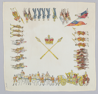 Handerchief printed in commemoration of the coronation of King George VI. Crown and crossed sceptres in center. Border design of coronation procession. White ground.