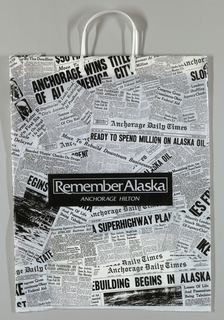 """Anchorage Hilton/Remember Alaska"" superimposed on collage of assorted newspaper clippings (1930s-1960s)."