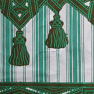 Top and bottom borders with design imitating passementerie or drapery. Borders are printed on a striped sidewall paper. Printed in green flock and overprinted with brighter green, the top border is formed by intertwined lace or ribbon, forming sharp angles, with pendent tassels. Above this is a wider band of gimp or fancy ribbon. The bottom border is composed of the same lace or ribbon forming sharp diamond shapes. Within the diamond framework is a rosette. Between the diamond shapes is a patera within a rectangular framework. The sidewall is bands of stripes, alternating wide and narrow.