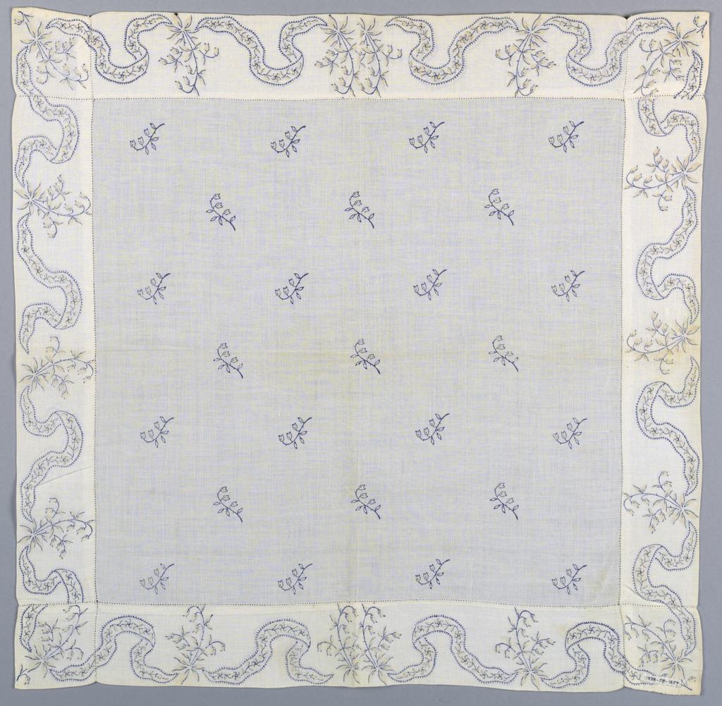 Woman's white handkerchief with a printed design of Lily-of-the-Valley flowers and ribbon garlands.