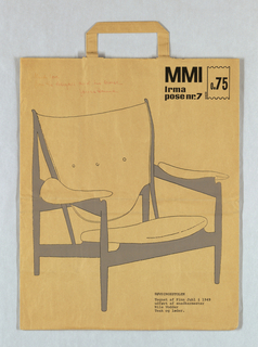 """MMI/Stolen""; two reproduction of drawings of 1948 Finn Juhl and Nils Vadder chairs on natural brown paper. Text in Danish."