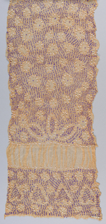 Thin silk panel with a pale orange ground in a tie-dyed pattern of circles and squares in purple and white, unpressed.