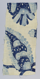 Fragment in two shades of blue on a white ground. Only a small portion of the design shows – one ornamental leaf or cone and a bit of a blossom. Much use of white dots in a linear pattern to enhance design.