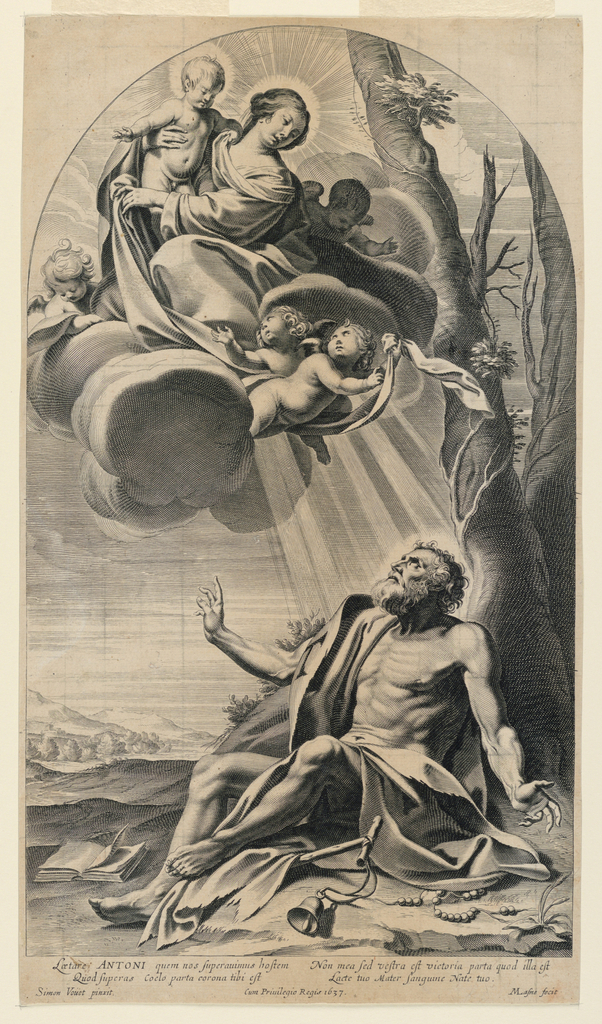Print, Virgin and Child in the Clouds